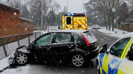 Car collides with railings in Stevenage Old Town