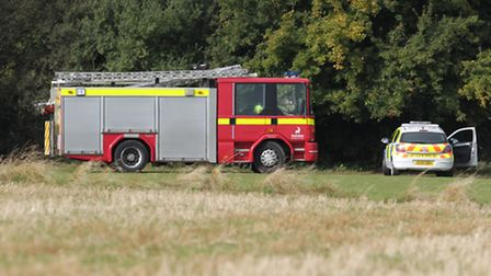 Emergency services at the scene of the stable fire in October last year