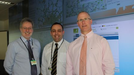 County councillor Stuart Pile, Derek Twigg, assistant network manager at the county council, and Mat