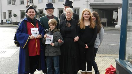 The cast of Oliver, the latest production from the Dunmow Players, took to the streets on Saturday t