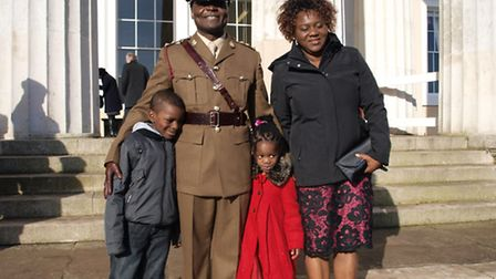 John Ekpa outside Sandhurst with wife Edith and children Divina, four, and Dayspring, seven.