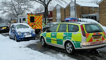 Ambulance and paramedics at the scene of the crash in Bedwell Crescent