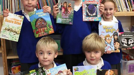 Great Sampford pupils and some of the new books