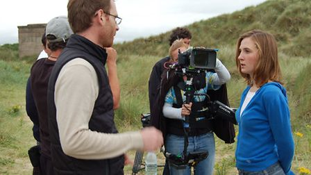 Writer/director Ben Crowe (left) on set with Indea Barbe-Willson, who plays the lead role in Verity'