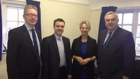 Left -right Andrew Morgan, Stevenage MP Stephen McPartland, chairman, Maria Ball and Oliver Heald MP