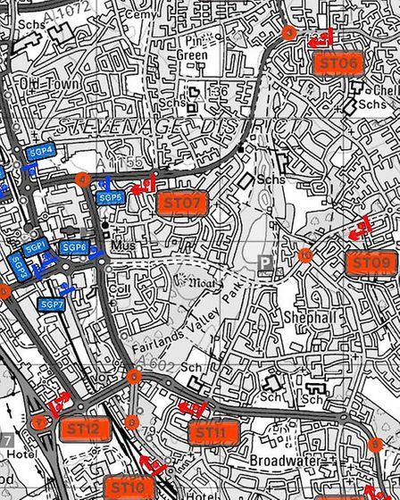 The locations of eight of the traffic signs across Stevenage