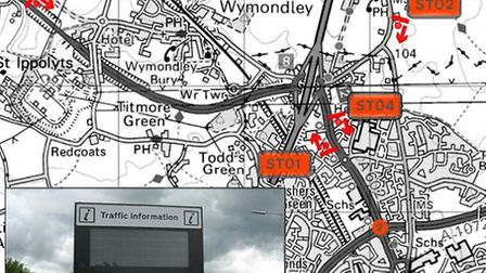 The locations of four of the traffic signs across the Stevenage area
