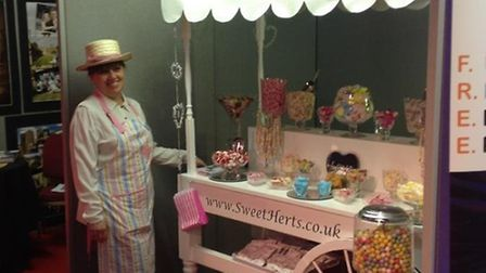 Val at the Knebworth wedding fayre, along with her candy cart