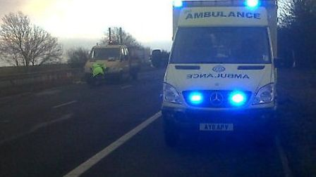 Ambulances at the scene of the crash near Junction 7 of the A1(M)