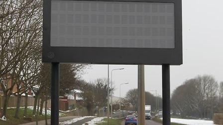 A traffic information sign in Broadhall Way, Stevenage