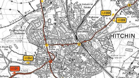 A map showing where traffic information signs could be built in Hitchin