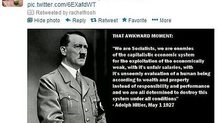 Dr Rachel Frosh retweeted this post with a picture and quote from Adolf Hitler