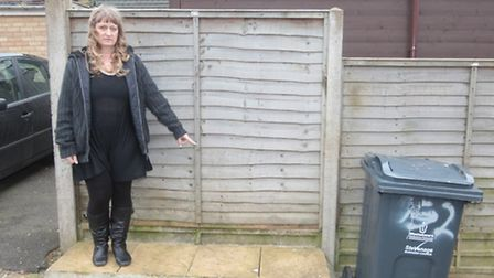 Alex Young points to the ledge where the new slimline bins will go. Her current bin can be seen in t