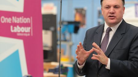 Shadow chancellor of the exchequer Ed Balls speaks during his visit to the Stevenage Skills Centre