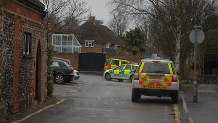 Paramedics attended the scene in Abbey Lane, Saffron Walden, after a pedestrian was hit by a car.