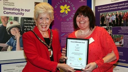 Shirley Barrett receives the award on behalf of One Voice from Cllr Kay Twitchen, chairman of Essex