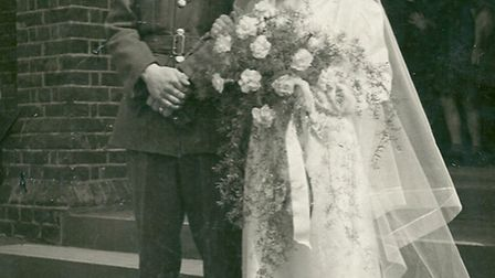 Florence and David Ray on their wedding day in April 1943