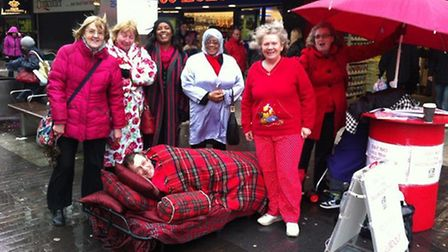 Members of Stevenage Labour Party bedded down in the town centre to protest against bedroom tax