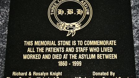 Memorial to remember the people who lived, worked and died at Fairfield Hospital formerly the Three