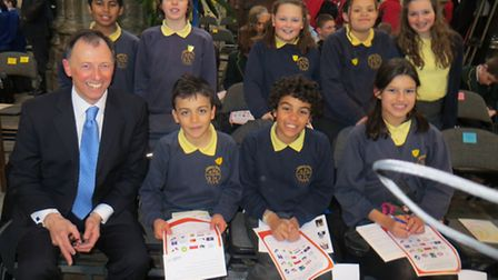 Wilshere Dacre pupils at Westminster Abbey with acting headteacher Chris Kronda