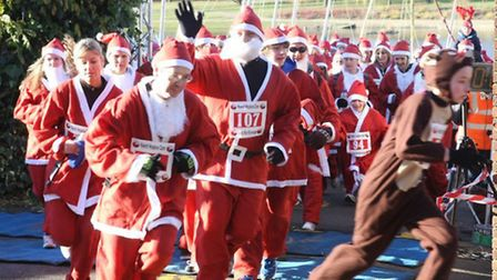 A reindeer sets the early pace at last year's Keech Hospice Care Santa Run in Stevenage