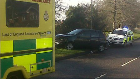 Three people were taken to Lister Hospital following the crash in Great Ashby Way, Stevenage