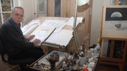 Brian Sanders at home in the studio he shares with wife Lizzie.