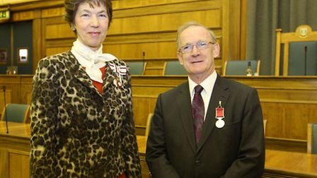 Mr Robert Girvan of Hitchin receives his award from Lady Verulam from Herts County Council Chamber