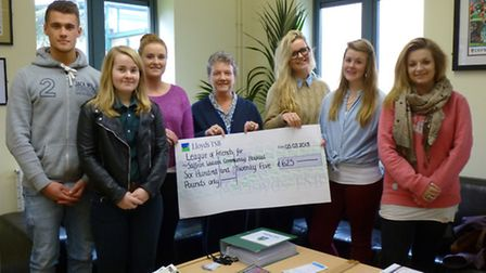 From left, pupils Barnaby Fitzer, Emma Cory, Julia Studholme, Avril Brookes from Saffron Walden Comm