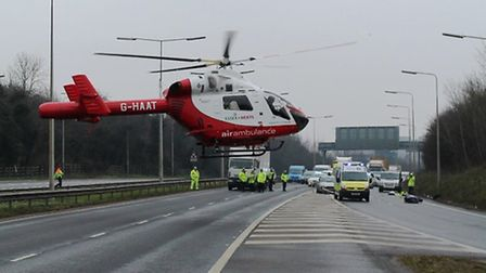 Ambulance crews, including the Herts Air Ambulance, treated the man but were unable to save him