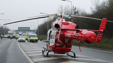 The Essex and Herts Air Ambulance lands on the A1(M)