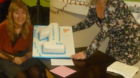 Group founder Sue Ross celebrates the anniversary with her carer Paula Chapman