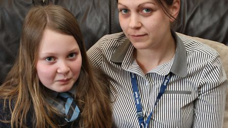 Pictured is Rebecca Reidy with daughter Lia, 11. Lia has been allocated a school in Letchworth, even