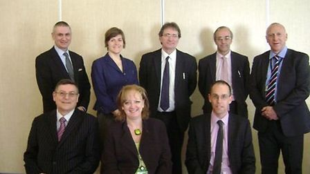 Photo of the new trustees for the partnership: back row from left to right, Ian Morris headteacher a