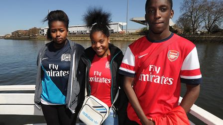 Shanice far left on the junior Gunners boat trip to Fulham from O2