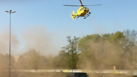 The air ambulance lands at the scene