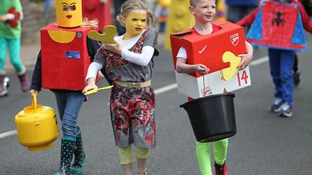 Children dress as lego characters