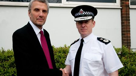 Essex Police and Crime Commissioner Nick Alston greets new chief constable Stephen Kavanagh