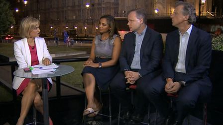 Emily Maitlis on BBC Newsnight interviews a panel of political commentators. Photograph: BBC.