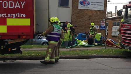 Fire crews are at the scene of the leak in Blackhorse Road, Letchworth GC