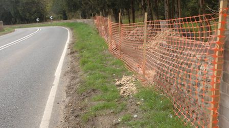 An example of a damaged wall on the B1383 between Audley End and Littlebury.