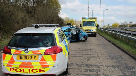 Police and ambulance at the scene of the crash in Martins Way, Stevenage.