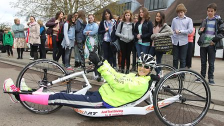 Claire Lomas about to embark on her 400 mile cycle ride around Britain raising money for two spinal