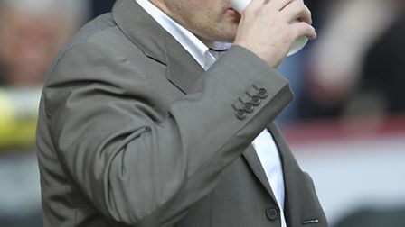 Graham Westley on the sidelines against MK Dons. Photo: Harry Hubbard