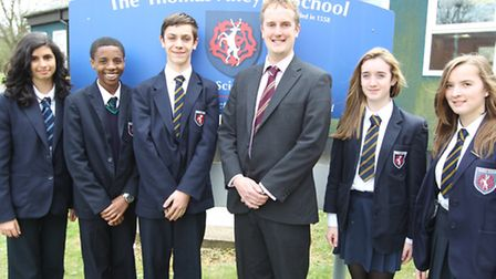 Headteacher Mark Lewis (centre) is pictured with, Roz Bivona, Dylan Patsanza, Myles Catley, Sophie H