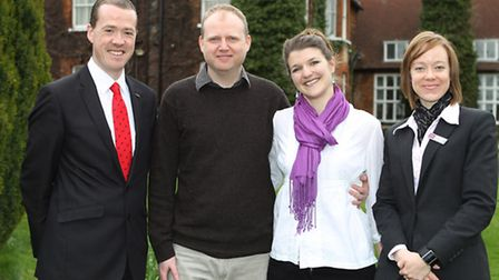Mercure Letchworth Hall General Manager Tony Murdock with Jonathan Grieves and his wife-to-be Evie L
