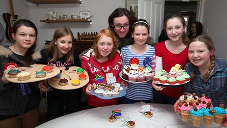 Lily, Angelica, Ellie, Hannah, Georgia and Evie at their Great Comic Relief Bake Off event with Ed B