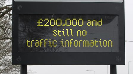 Traffic information signs, including this one in Fairlands Way, Stevenage, are yet to go live