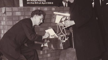 Lord Mayor of London, Sir Ralph Perring, adding to the original time capsule in 1963