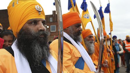 The annual Vaisakhi procession through Hitchin from the Gurdwara